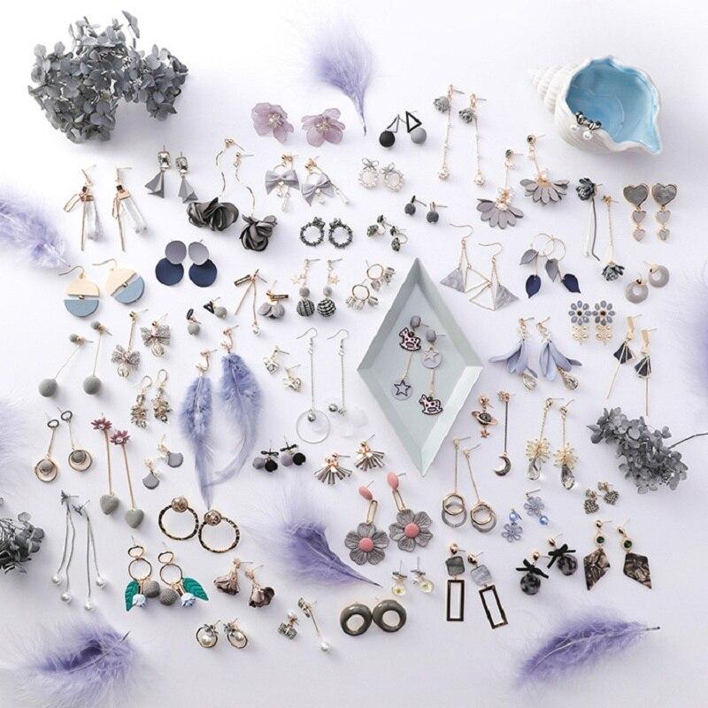 Vintage Wild Gray Fabric Flower Long Dangle Earrings 2019 Korean Fashion Geometric Circle Heart Shape Earrings For Women Jewelry