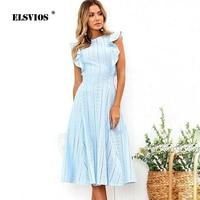 ELSVIOS 2018 High Quality Ruffle Elegant Women Dress Boho Lace Summer Dresses Ladies O Neck Sleeveless Slim Party Beach Sundress