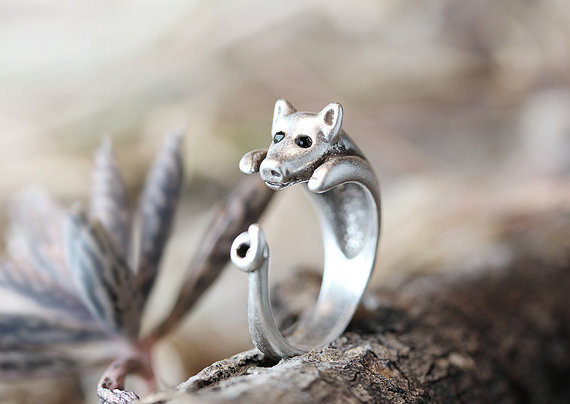 Jewelry High Quality Retro Burnished Bronze Mouse Rings Animal Wrap Ring