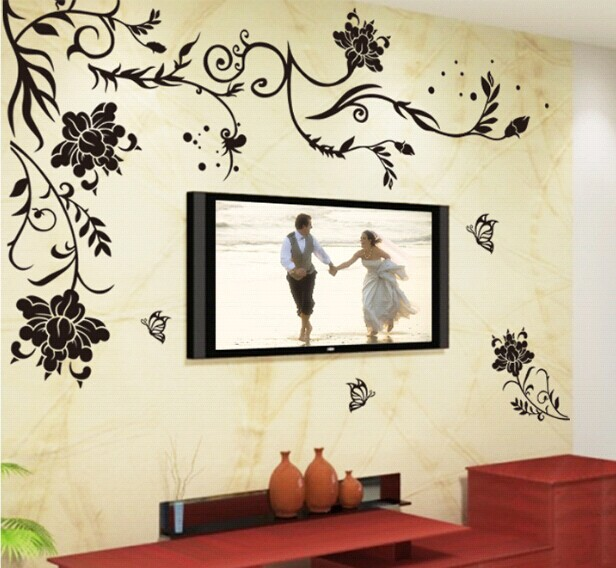 black flower vine butterfly vinyl wall stickers home decor rooms living sofa wallpaper design wall art decals house decoration in wall stickers from home - House Wall Designs