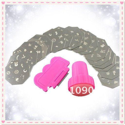 Дизайн ногтей тиснения 20 штук+ изображение шаблона плиты+ 1 штамповка+ 1 Скребки комплект