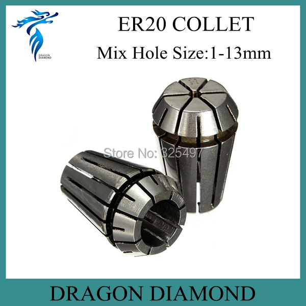 1 set ER20 Collet =13pcs cnc spindle motor collet Diameter Range from 1 to 13mm for cnc milling machine