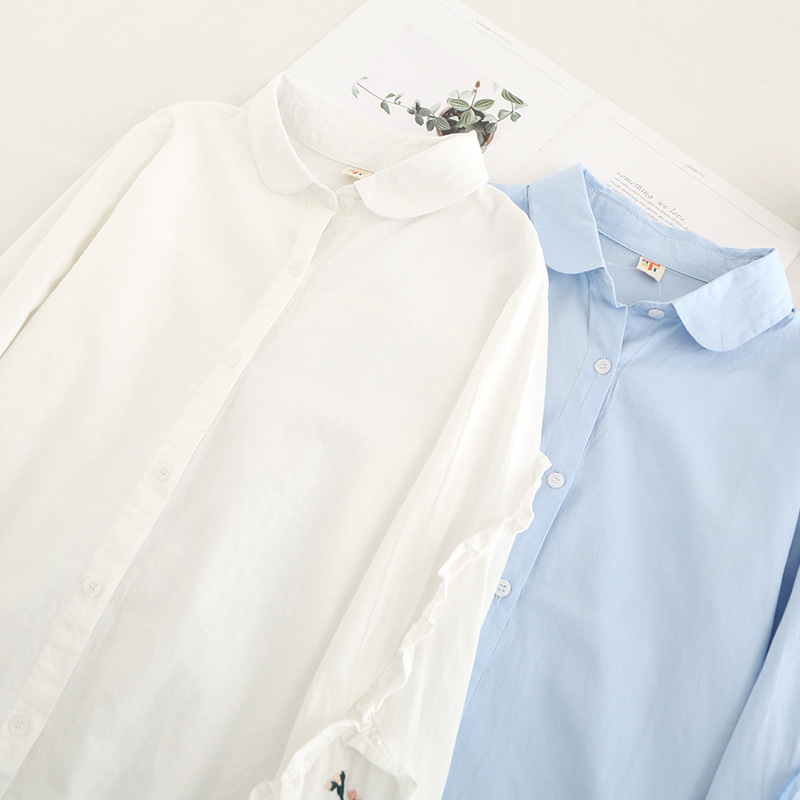 La Manga Mujeres De Mujer Floral Algodón Larga Nueva blanco Camisa Las Punto Azul Bordado Primavera Blusa Azul Blanco Chaqueta Blusas 2019 Cqd7q