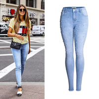 England Style Embroidered Flares Slim Skinny Jeans Women Top Quality Cotton Bleached Blue Elasticity Push Up
