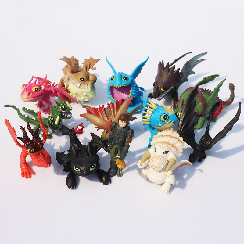 1Set 13pcs/set 5~7cm How to Train Your Dragon 2 Night Fury Toothless Dragon PVC Action Figures Toothless Dragon Train Toy стоимость