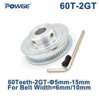 POWGE GT 60 dents 2M 2GT alésage de poulie de distribution 5/6/6.35/8/10/12/14/15mm pour GT2 largeur de courroie synchrone ouverte 6/10mm engrenage 60 dents 60 T