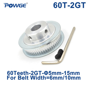 POWGE GT 60 Teeth 2M 2GT Timing Pulley Bore 5/6/6.35/8/10/12/14/15mm for GT2 Open Synchronous belt width 6/10mm Gear 60Teeth 60T(China)