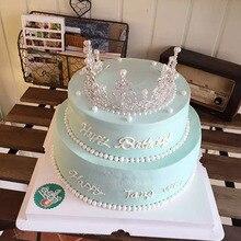 Серебряный Princess Crown Дизайн Стиль жемчужные металлическая коронка День рождения Свадьба украшения Поставки партии украшения