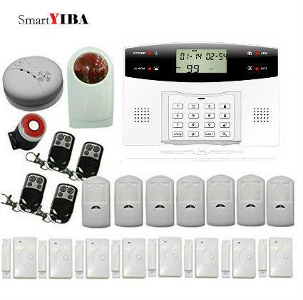 Smartyiba Беспроводной охранных alarmes GSM сигнализация Дистанционное управление двери Сенсор 433 мГц пожарной сигнализации дыма мерцающий Siren