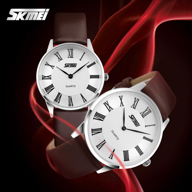 SKMEI Brand Ladies Ultra thin Quartz Watches Women Leather Strap Casual Girls Dress Watch Luxury Wristwatches reloj mujer 2017  skmei lovers quartz watches luxury men women fashion casual watch 30m waterproof simple ultra thin design wristwatches 1181