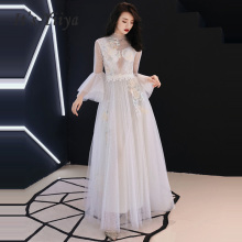 Evening Dress White Floor Length 2019 Long Plus Size  Prom Dress Long Bell Sleeve Women Party Dresses Lace Robe De Soiree E540