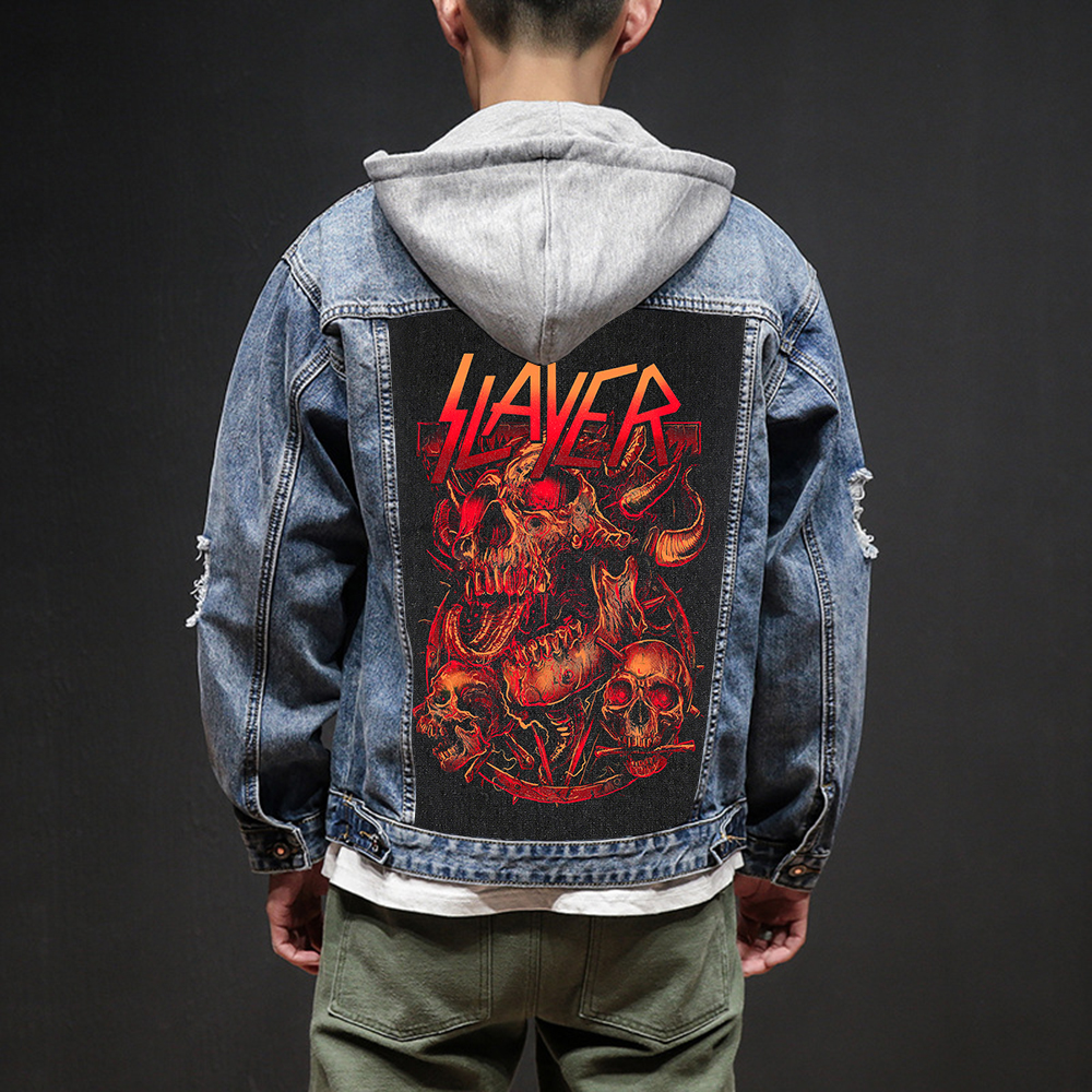 Bloodhoof Store Slayer Rock And Roll Death Heavy Hardcore Punk Style Patch Designs Denim Jeans Mens Jackets And Coats