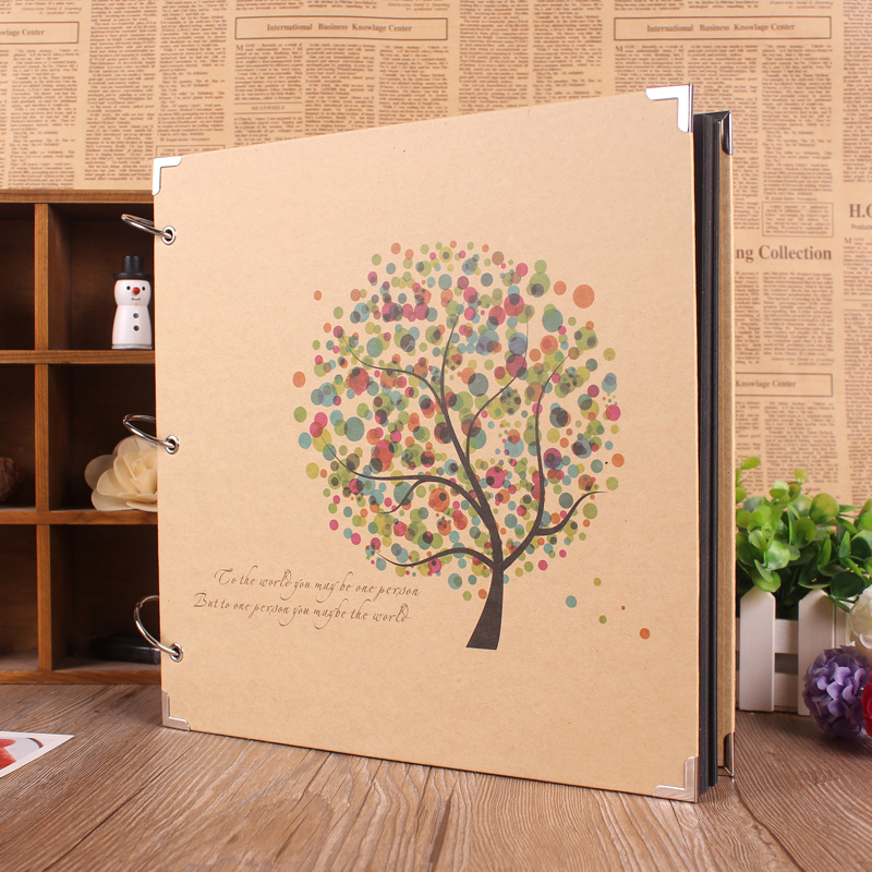 new diy 28 28 cm flower heart paper photo albums manual family album
