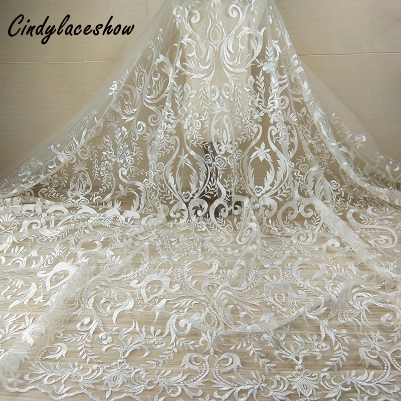 86d64e70b9 1Yard Vintage Embroidered Wedding Dress Lace Fabric Bridal Gown Lace Trims  For Clothing Sewing Net French