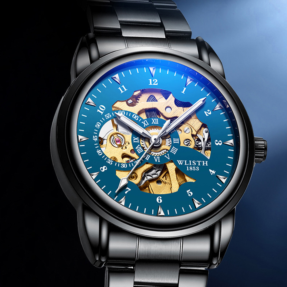 2019 Men Watches Top Brand Luxury WLISTH Mechanical Watches for Men Hour Erkek Kol Saati Luminous Black Skeleton Automatic Watch 4