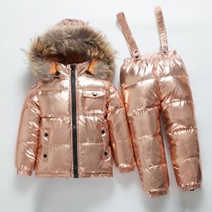 Image 2 -  40ロシア冬ベビーアヒルダウン防水服セット子供リアル毛皮の襟フード付き2個セット女の子暖かい屋外スキースーツ