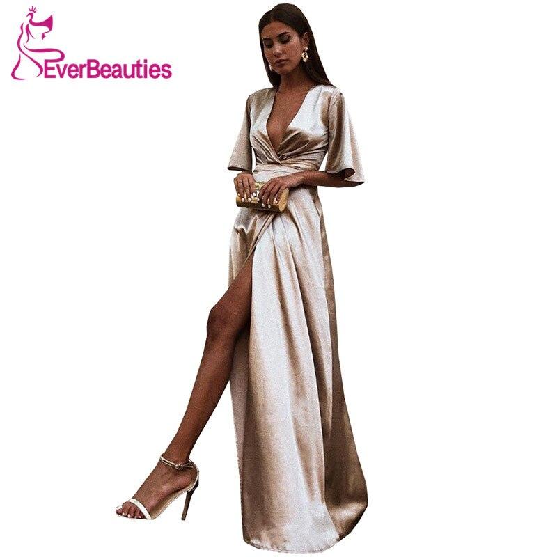 A-Line Evening Dress Long Deep V-Neck Formal Dress Side Slit Abiye Gece Elbisesi Abendkleider 2020 Robe De Soiree
