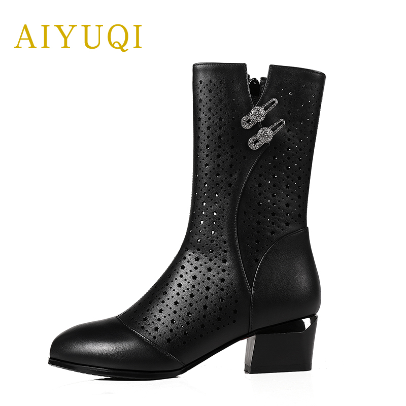 AIYUQI 2019 summer mesh breathable Female boots genuine leather fashion women cool boots brand shoes women Riding boots in Mid Calf Boots from Shoes