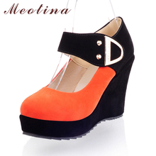 Shoes Women High Heels Pumps Spring Mary Jane Flock Platform Wedges Female Sequined Orange Shoes Large Size 9 10