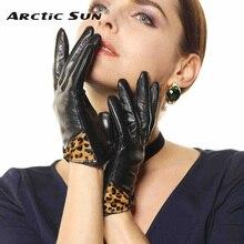 warmen women leather gloves fashion leopard bowknot lambskin Genuine winter warm driving for lady