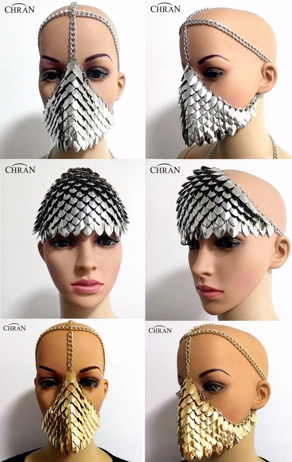 Su comercio tiene que asegurarse sobre que antes de comprar un Chran  Chainmail máscara sujetador Scalemail hombro armadura Cosplay Burning Man  tocado cabeza ... 3e9aa20f9408