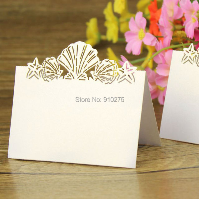 new arrival 100pcs beach themed lovely shell name place cards