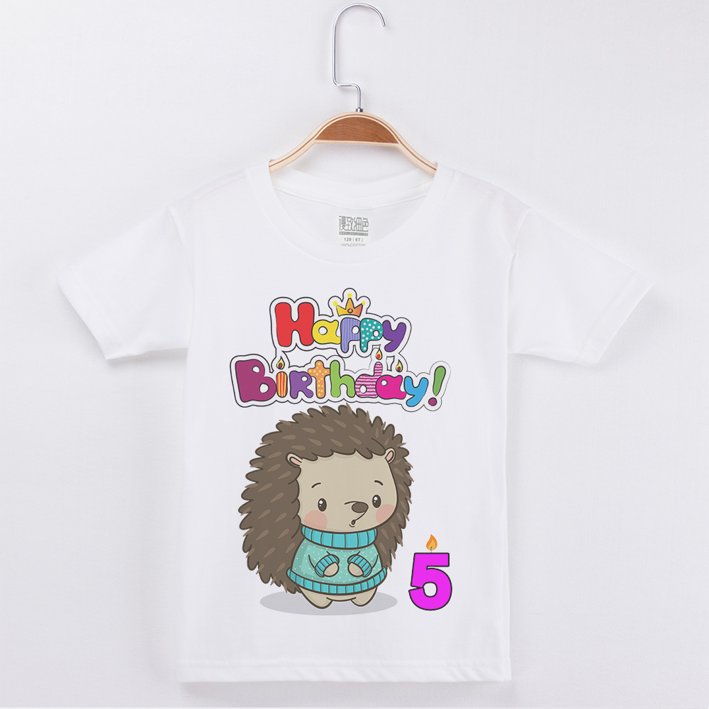 Hot Sale Fashion Boys T Shirt Child Happy Birthday Hedgehog Printing Girls Top Cotton Half Sleeve Kids T Shirts Tops Boy Tshirt in T Shirts from Mother Kids