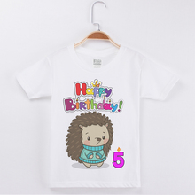Hot Sale Fashion Boys T-Shirt Child Happy Birthday Hedgehog Printing Girls Top Cotton Half Sleeve Kids T Shirts Tops Boy Tshirt