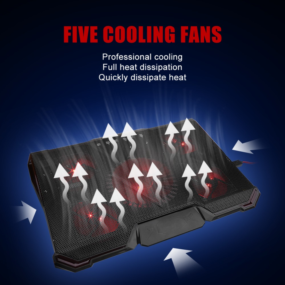 Notebook Cooler 5 LED Fans USB Laptop Cooling Pad Holder for 12-17 inch Laptop Cooler Fan LED Adjustable Notebook Stand Holder notebook cooling pad blue led laptop cooler 5 fans 2 usb port stand pad for laptop 10 17 pc usb cooler for notebook usb cord