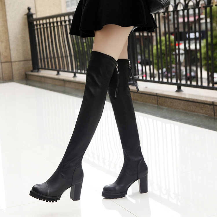 ФОТО Thigh high boots Plain Zip Over the knee boots Women boots PU Rubber Size 35-40 botas largas mujer