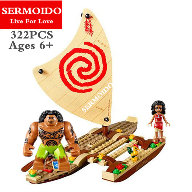 SERMOIDO Moana Ocean Voyage Restore The Heart of Te Fiti Set Building Blocks Maui Assembling Toys Gift Compatible 41150 B101 cool moana maui heihei led weapons light sound saber fishing hook action figures moana adventure lightsaber toy gift