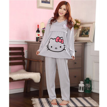 Spring Autumn Nursing Pajamas Set Cartoon Expectant Mother Feeding Dresses Character Coat + Pants Pregnant Women Pajamas