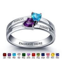 Personalized Gift 925 Sterling Sliver Birthstone Heart Rings Custom Engraved Jewelry Promise Love Engagement Rings For