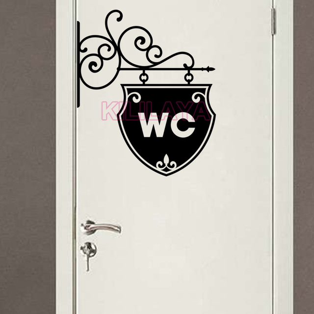 Stickers Toilet WC Door Sign Vinyl Walls Sticker Removable Wall Decals  Wallpaper Mural Wall Art Home. Stickers Toilet WC Door Sign Vinyl Walls Sticker Removable Wall
