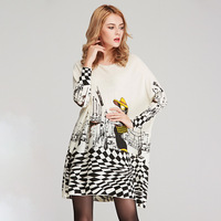 New Casual Loose Long Sleeve Sweater Women Knitted wear Jumper Tops puls size Printed long oversized sweater pullover
