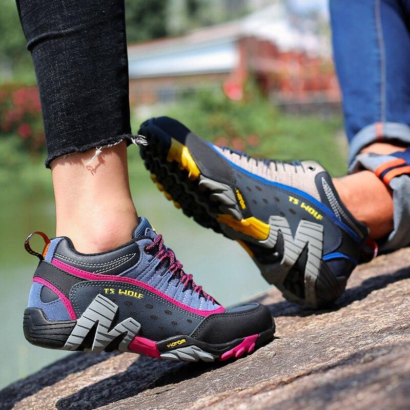 Kadın hakiki deri yürüyüş ayakkabıları su geçirmez kaymaz bayanlar kamp seyahat spor tırmanma ayakkabıları dağ trekking ayakkabı