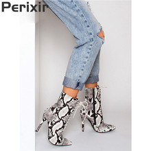 Perixir women ankle winter boots Snakeskin pattern pointed toe Zip thin high heels shoes Short Plush Sexy High heel lady