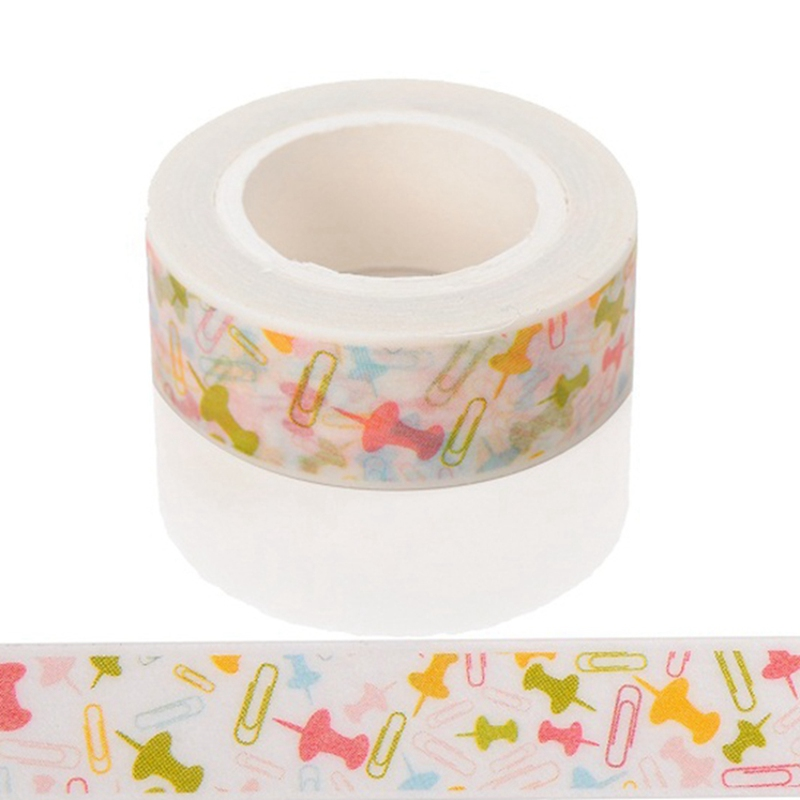 10m*15mm Creative Colored Paper Clips Staples Washi Tape Scrapbooking Tape DIY Stickers Crafts Wrapping Sticker Masking Tapes