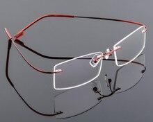 초경량 남성 티타늄 무테 안경 읽기 여성 합금 무테 안경 돋보기 안경 + 1.00 ~ + 6.00
