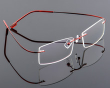 Ultra light Mens titanium rimless Reading Glasses women alloy Rimless reading eyeglasses Presbyopic glasses +1.00 to +6.00