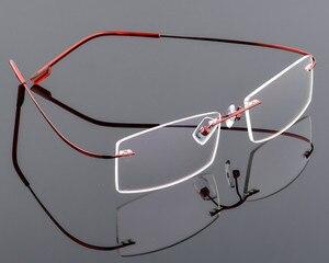 Image 1 - Ultra light Mens titanium rimless Reading Glasses women alloy Rimless reading eyeglasses Presbyopic glasses +1.00 to +6.00