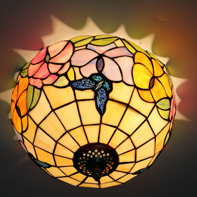 12inch European Style Pink Tiffany style ceiling light butterfly flower glass Stained Glass Lamp for Bedroom E27 110-240V tiffany stained glass ceiling lamps in rural southeastern united states bar study bedroom ceiling lamp df37