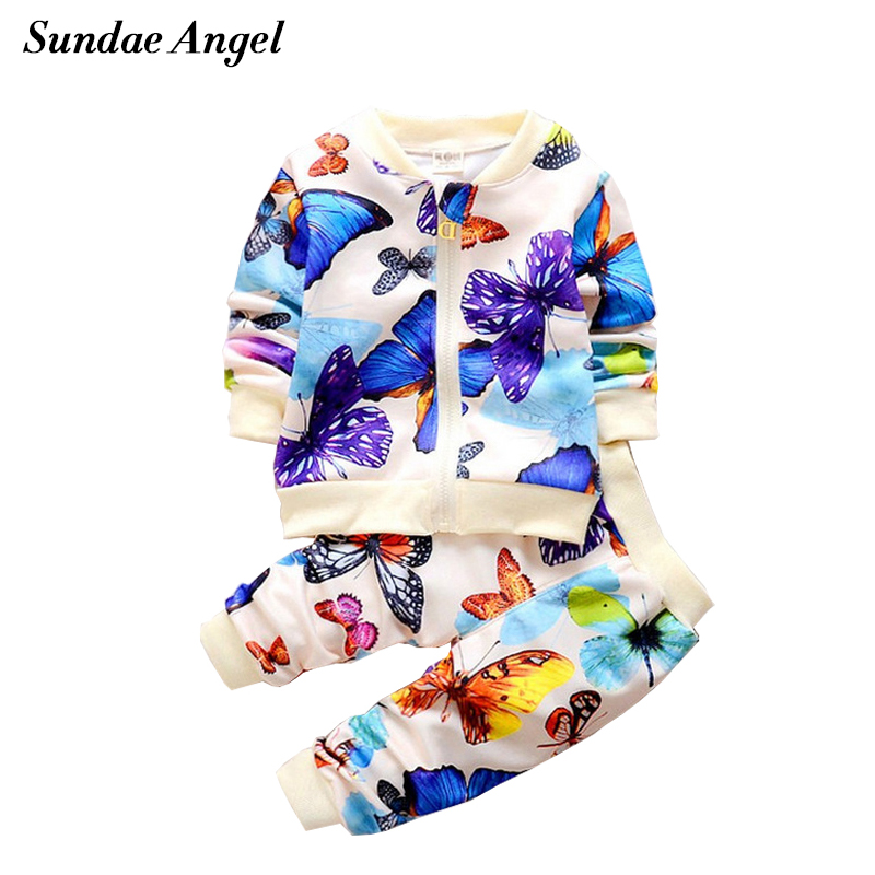 Sundae Angel Kid Baby Girl t-shirt+Pants Suit Sets Polyes Outfits Clothing Outerwear Long Sleeve Character Coat Children Clothes new baby character dinosaur overalls white t shirt lovely baby costumes baby outfits