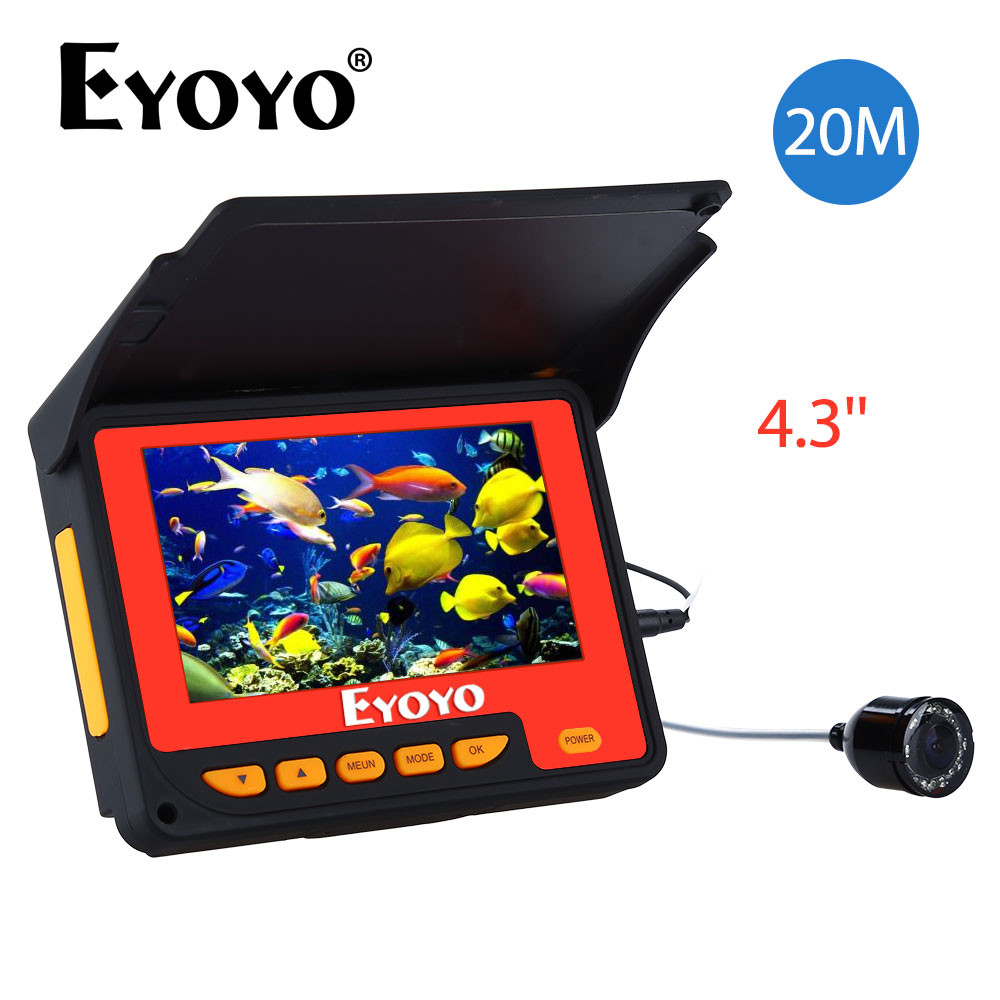 Eyoyo Updated 20M HD 1000TVL Underwater Ice Fishing Camera Video Fish Finder 4.3 LCD 8pcs Infrared IR LED 150 Degrees Angle eyoyo 20m hd 1000tvl underwater ice fishing camera video fish finder 4 3 lcd 8pcs ir led 150 degrees angle