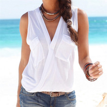 Summer 2017 Women Casual Blouse Sexy Deep V-neck Sleeveless Tops Solid Color Shirts Blusas Femininas Plus Size S-3XL