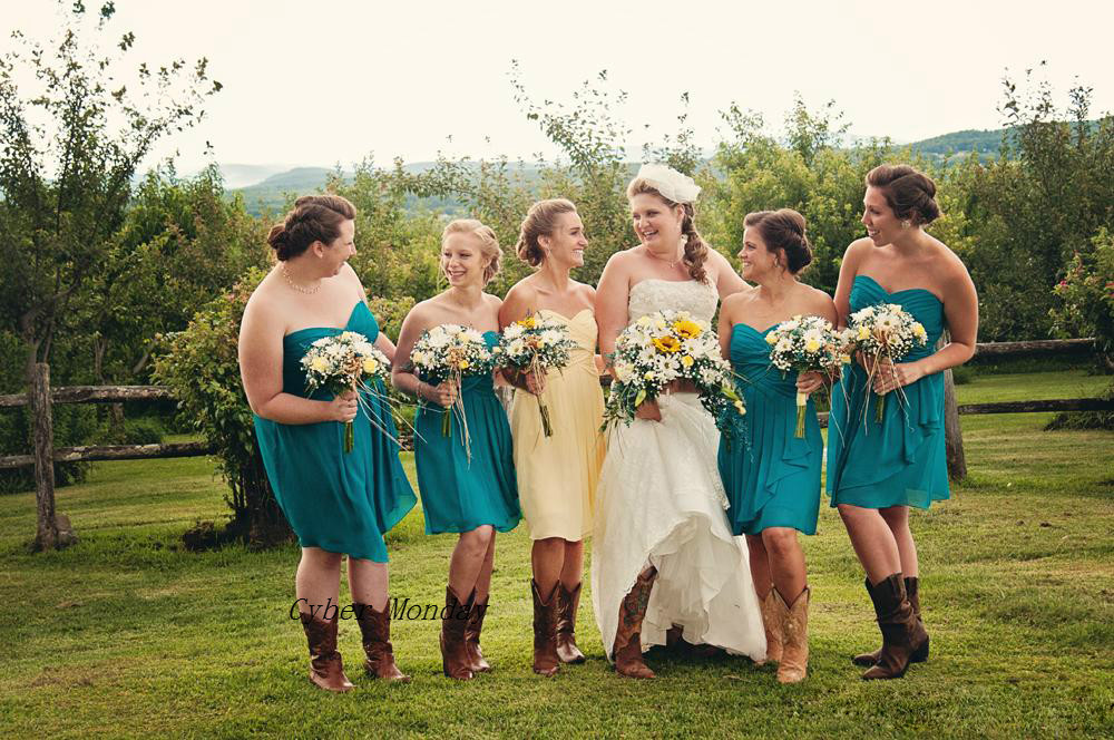 Free Shipping Country Style Bridesmaid Dresses Short 2017
