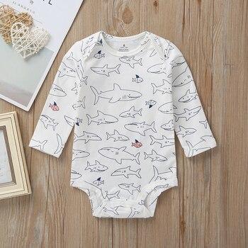 cartoon shark baby boy set long sleeve hooded coat blue+bodysuit+pants stripe 2020 spring fashion babies outfit newborn clothes 5