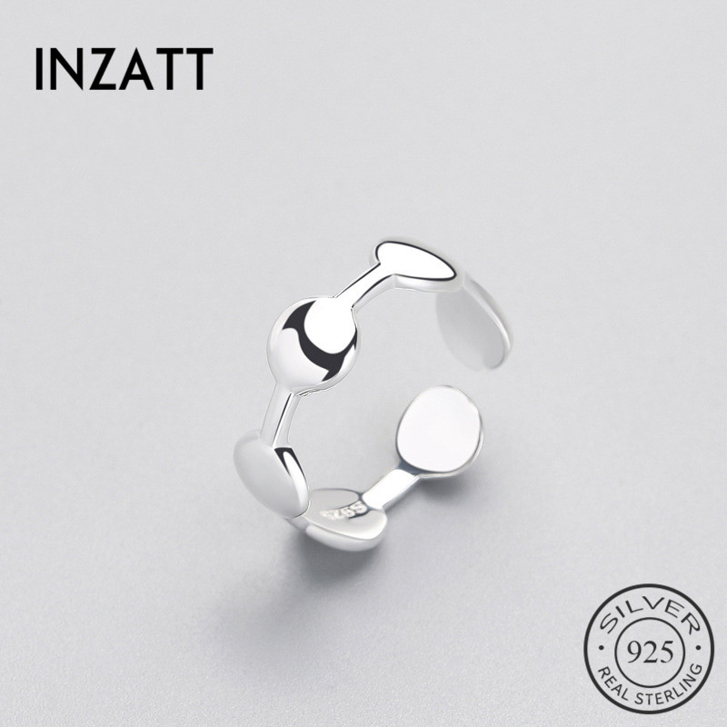 INZATT  Geometric Round Smooth Surface Ring Minimalist Style For Charm Women Party Real 925 Sterling Silver Fine Jewelry Brincos