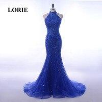 LORIE Luxo Vestidos de Noite abendkleider Halter Frisada Bling Bling Vestido de Baile Azul Royal Pedrinhas Tulle Da Sereia Vestido de Festa