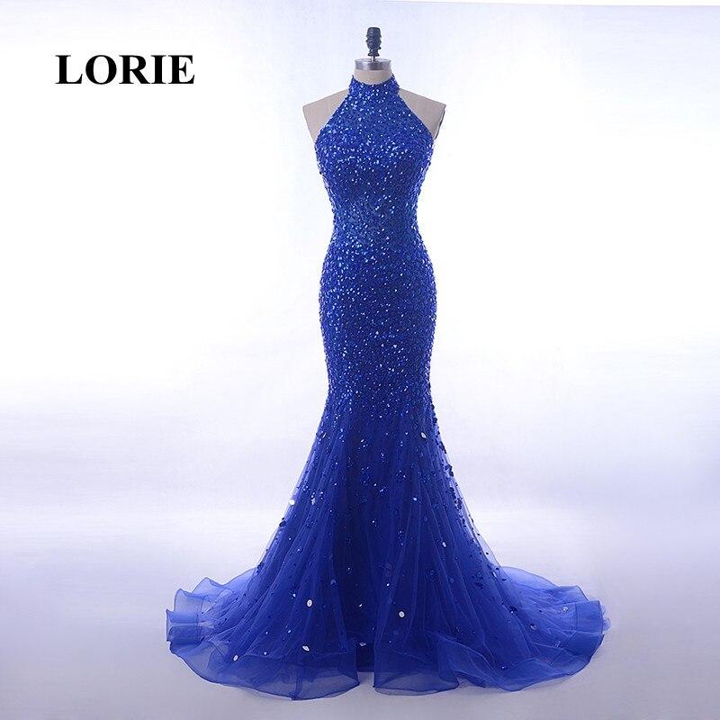 LORIE Luxury   Evening     Dresses   abendkleider Halter Beaded Bling Bling Royal Blue Prom   Dress   Rhinestones Tulle Mermaid Party Gown